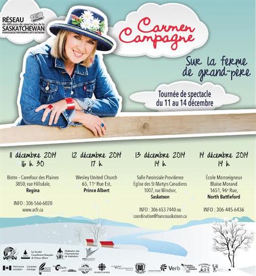 Affiche de la tournée saskatchewannaise de Carmen Campagne - Décembre 2014