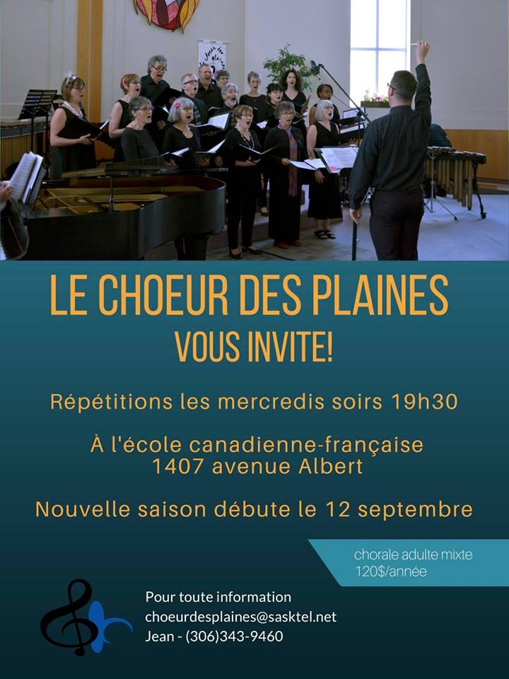 Répétitions pour la saison 2018-19 du Choeur des Plaines