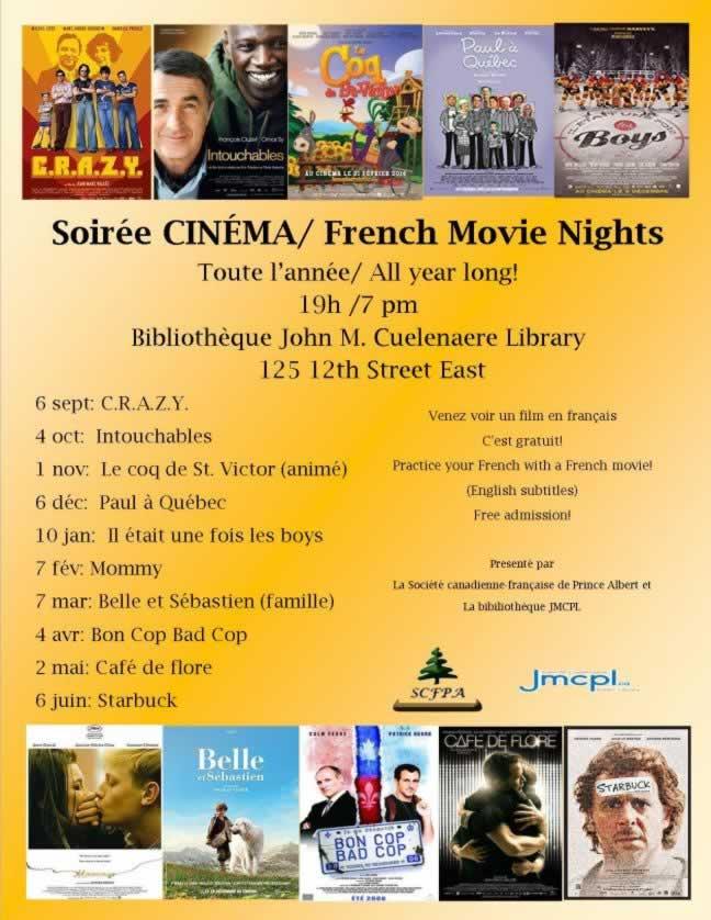 Films en français à Prince Albert - Saison 2018-19