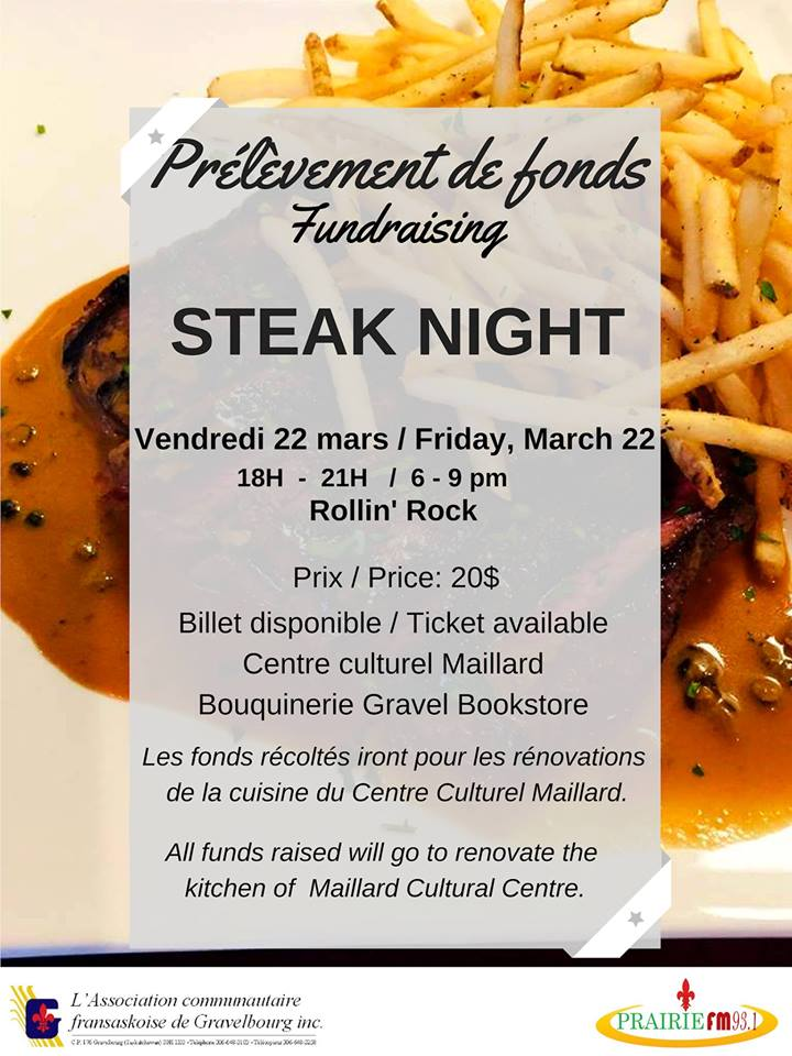 Steak night - levée de fonds pour le Centre culturel Maillard