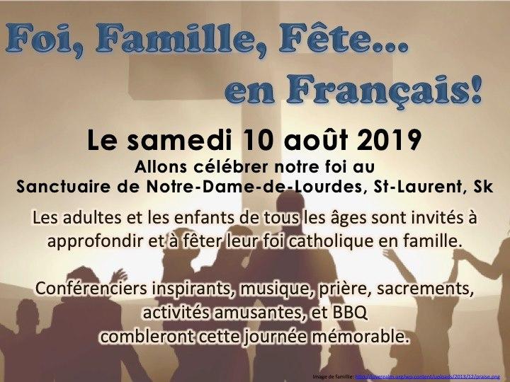 Foi, Famille, Fête en français à Saint-Laurent